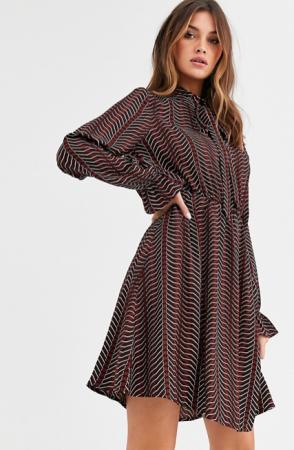 Mini-jurk met strikkraag en geometrische print