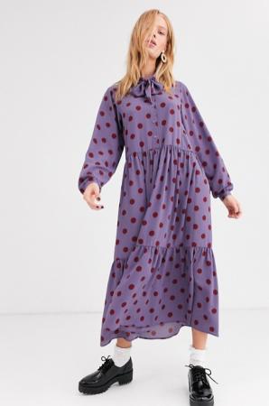Paarse maxi-jurk met strikkraag en roestkleurige polka dots