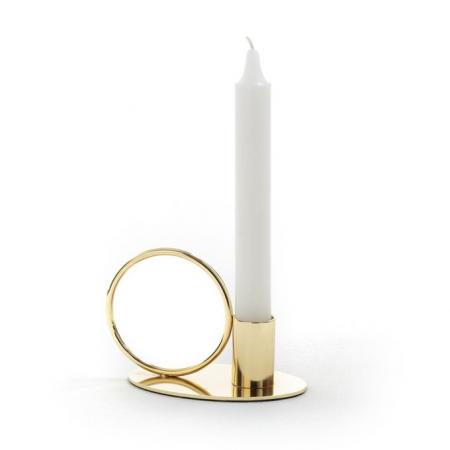 Goudkleurige kandelaar met ring