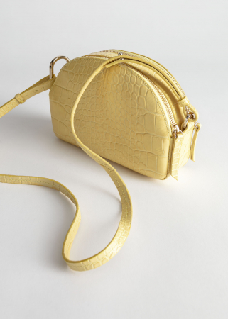 Gele crossbody bag met crocotextuur