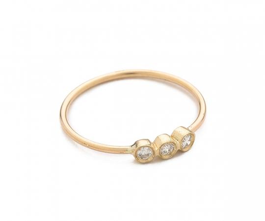 Bague en or 14 carats avec 3 diamants