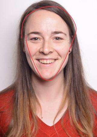 Frauke (25) heeft een diamantvormig hoofd.