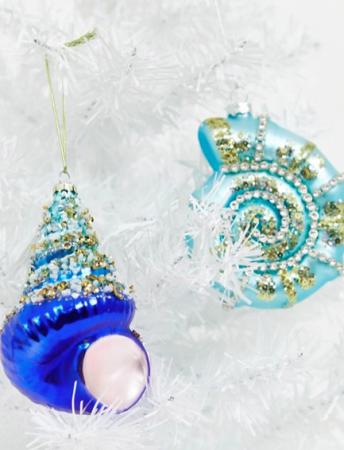 Set van twee blauwe schelpen