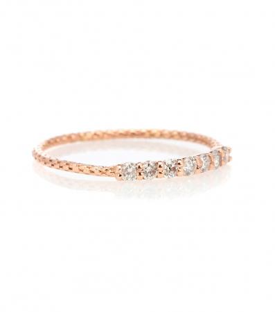 Roségouden ring van 14 karaat bezet met diamanten