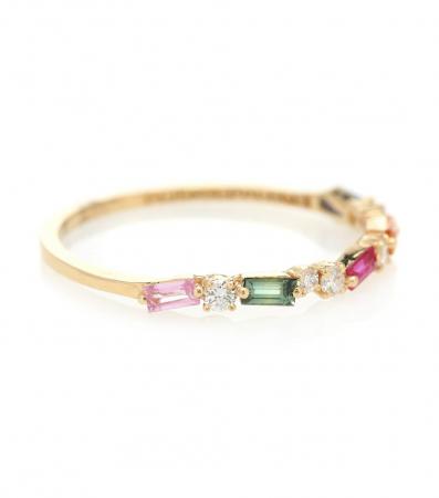 Gouden ring van 18 karaat met saffieren en diamanten