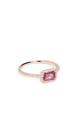 Roségouden ring van 14 karaat bezet met diamanten en een roze topaas