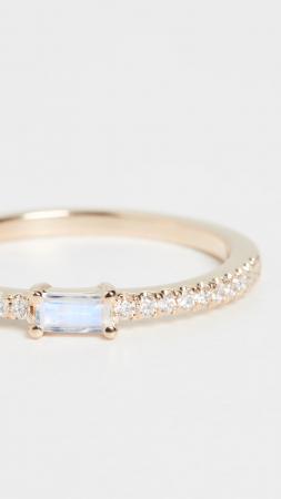 Gouden ring van 14 karaat bezet met diamanten en een maansteen