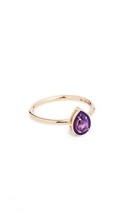 Gouden ring van 14 karaat met druppelvormige amethist