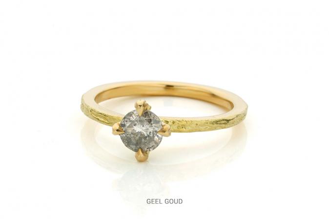 Gouden ring van 18 karaat met peper-en-zout-diamant