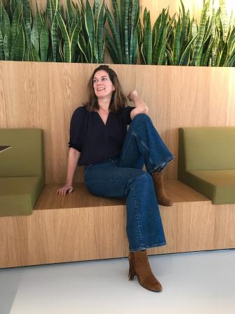 Hoofdredactrice Eva: flared jeans
