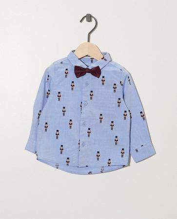 Blauw hemd met notenkrakerprint