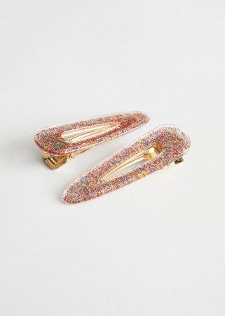 Set van twee glitterhaarclips