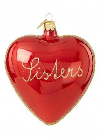 Hartvormige kerstbal met opschrift 'Sisters'