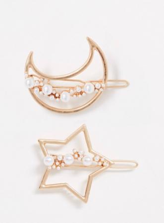 Set van twee goudkleurige haarspelden bezet met parels