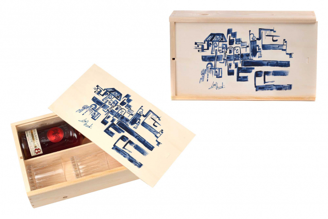 Bacardí-rumgiftbox, gedecoreerd door Axel Daeseleire