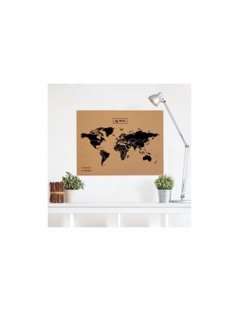 Carte du monde en liège – noir