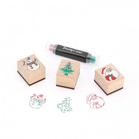 Tampons de Noël en bois