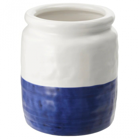 Vase, céramique blanc/bleu