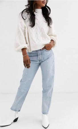 Bleached mom jeans met parels