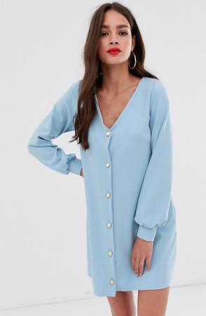 Babyblauwe mini-jurk met pofmouwen