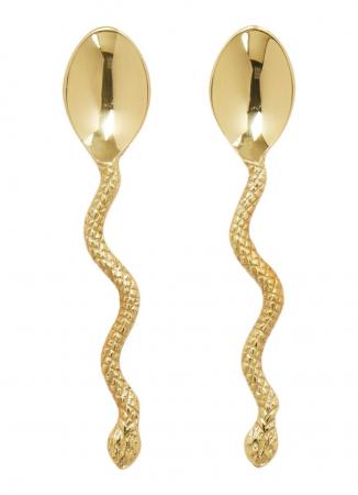 Set van twee gouden lepeltjes met slang