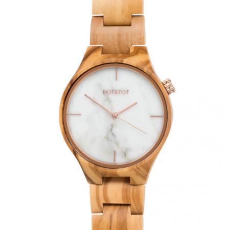 Houten horloge met marmeren wijzerplaat