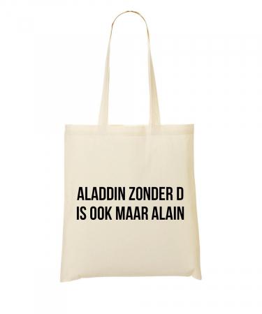 Totebag 'Aladdin zonder d is ook maar Alain'