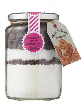 Pot met bakmix voor chocolate chip cookies