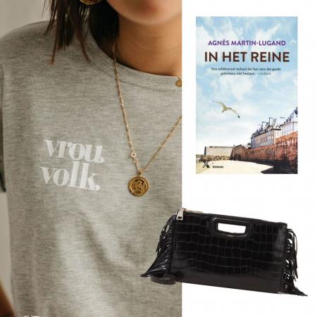 Handtas, leesboek en T-shirt