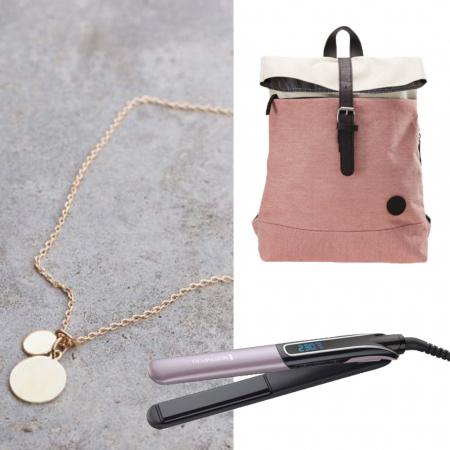 Laptoprugzak, stijltang en gepersonaliseerde ketting