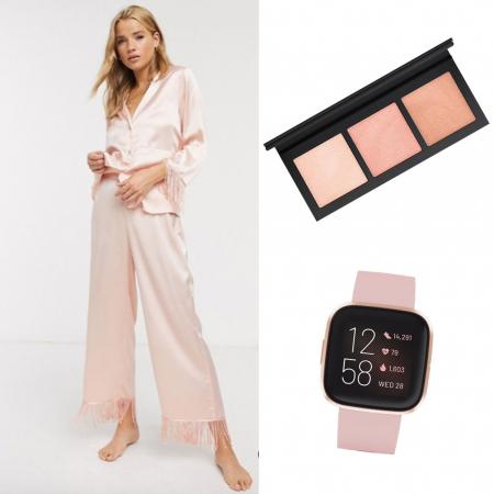 Pyjama, horloge en highlighter palette