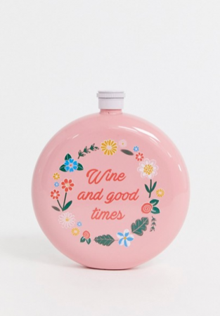 Roze heupfles met opschrift 'Wine and good times'