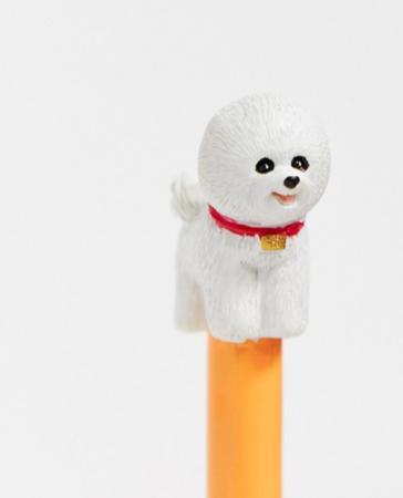 Balpen met hondje (bichon frisé)