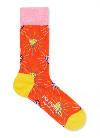 Oranje sokken met diamantmotief