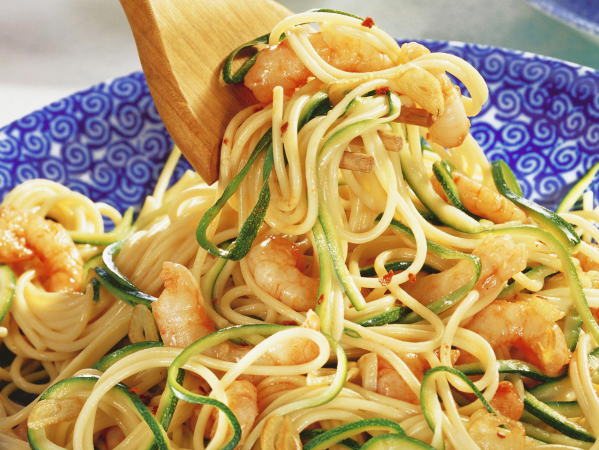 Spaghetti met scampi's