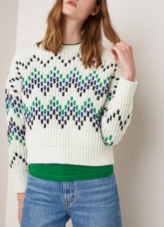 Witte grofgebreide cropped sweater