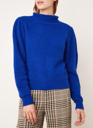 Kobaltblauwe gebreide trui in wolblend