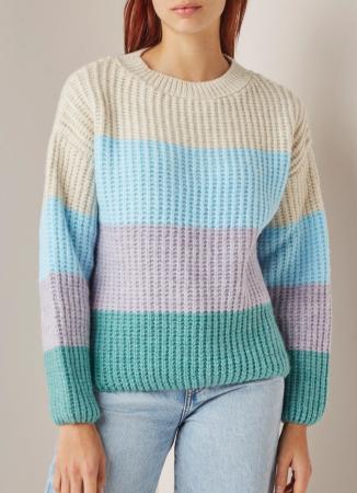 Grofgebreide trui met colour blocking