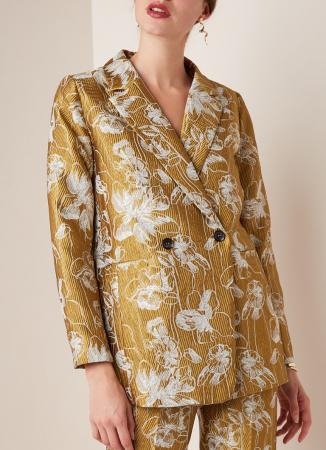 Goudkleurige blazer met bloemenmotief