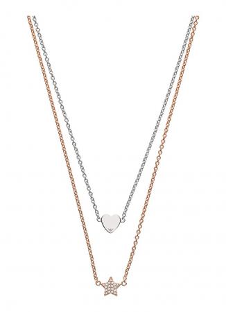 Dubbele halsketting uit sterling silver met ster en hartje