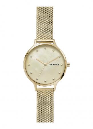 Goudkleurig horloge met faux parels