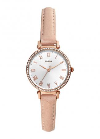 Horloge met roségouden bandje uit leder