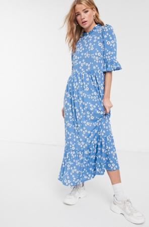 Babyblauwe maxi-jurk met bloemenprint