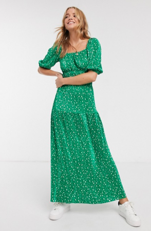 Groene maxi-jurk met bloemenprint
