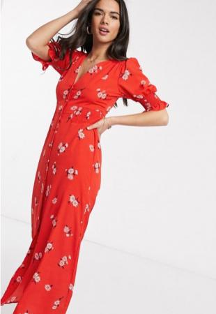 Rode maxi-jurk met bloemenprint