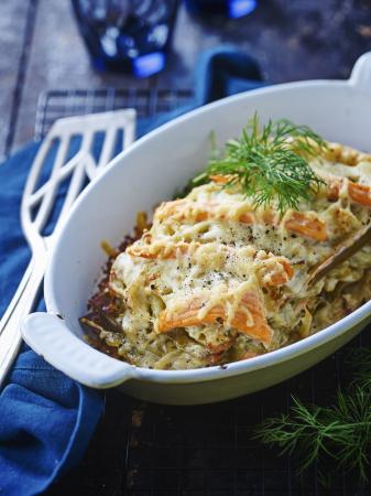 Lasagne met zalm en venkel