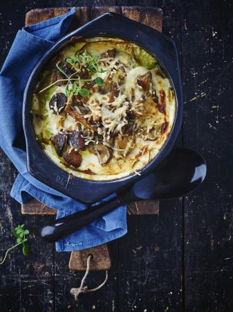Lasagne van boschampignons en groene kool