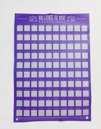 Scratch-off-poster met 100 steden