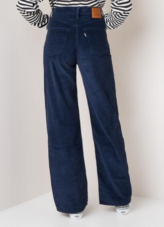 Ribfluwelen broek met hoge taille