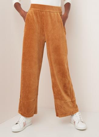 Ribfluwelen broek met elastiek